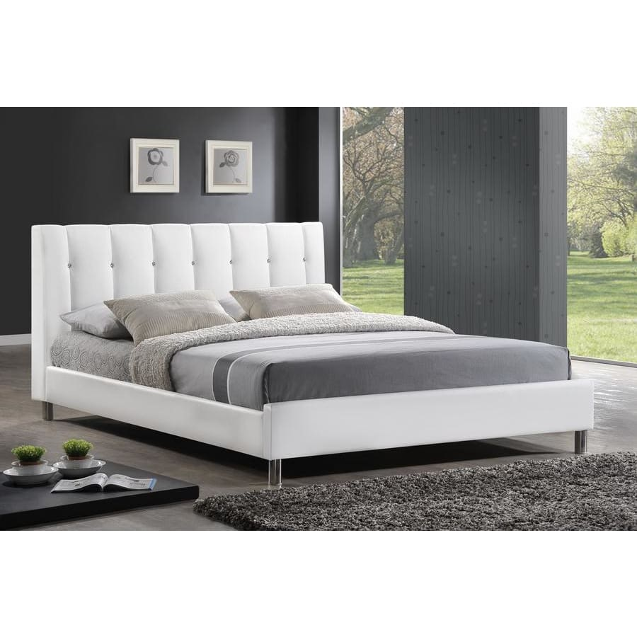 Baxton Studio Vino White Modern Bed with Upholstered Headboard - Full Size - Bedroom Furniture