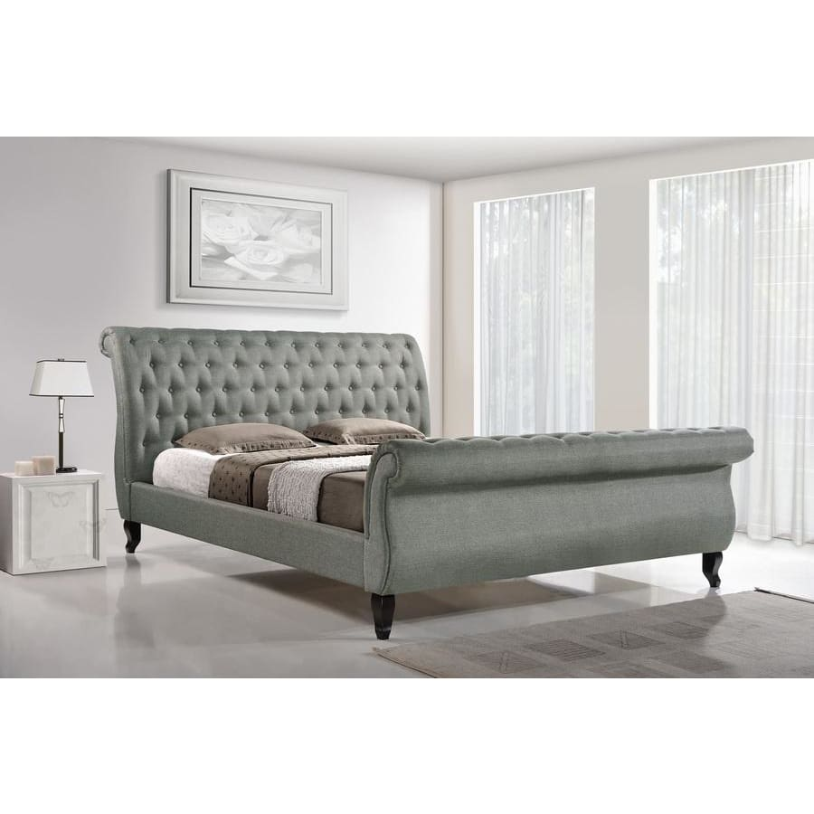 Baxton Studio Arran Grey Linen Platform Bed - Bedroom Furniture