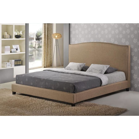 Baxton Studio Aisling Dark Beige Fabric Platform Bed Queen Size - Bedroom Furniture