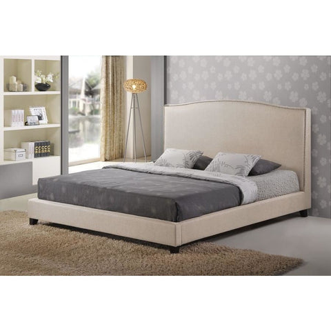 Baxton Studio Aisling Light Beige Fabric Platform Bed Queen Size - Bedroom Furniture
