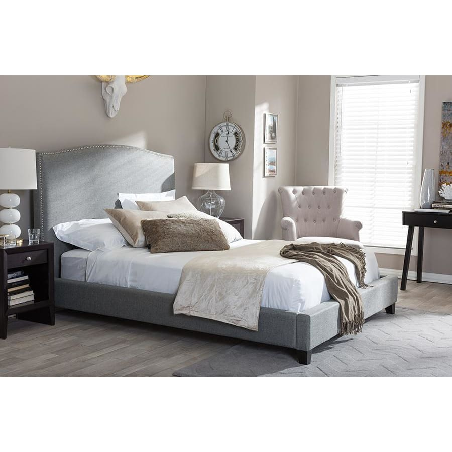 Baxton Studio Aisling Gray Fabric Platform Bed Queen Size - Bedroom Furniture