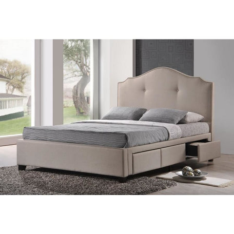 Baxton Studio Armeena Beige Linen Modern Storage Bed with Upholstered Headboard - King Size - Bedroom Furniture