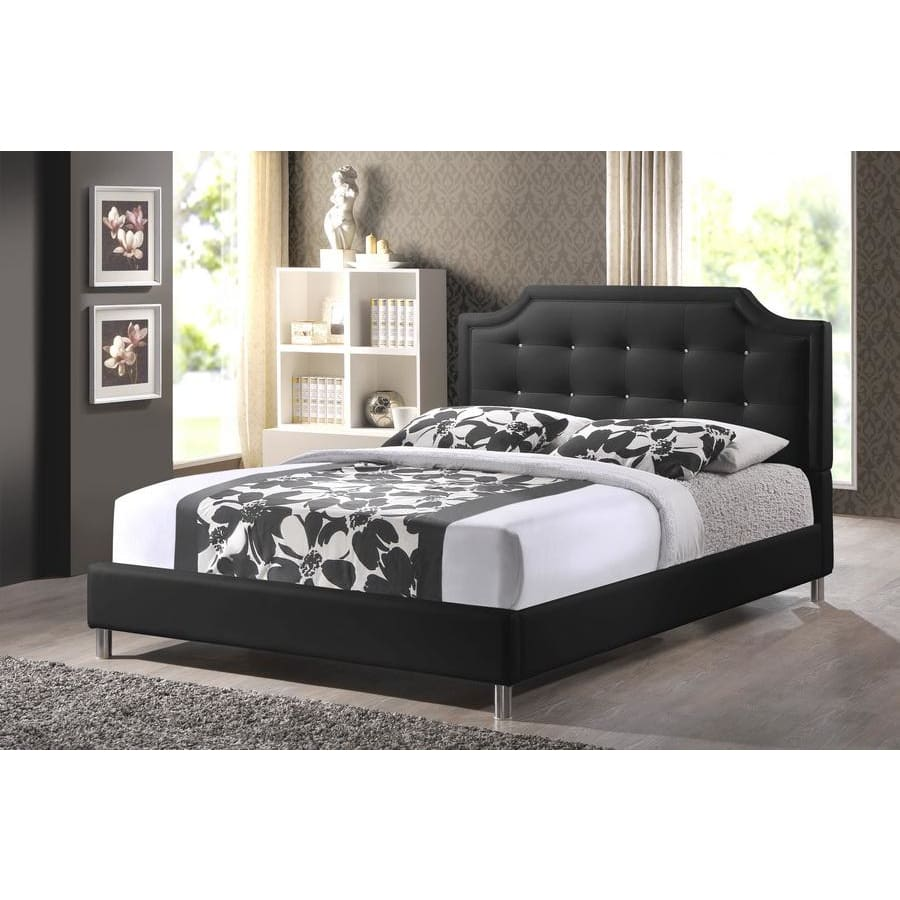 Baxton Studio Carlotta Black Modern Bed with Upholstered Headboard - Queen Size - Bedroom Furniture