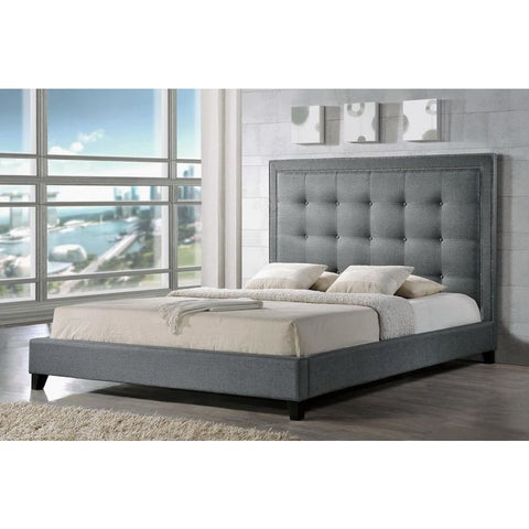 Baxton Studio Hirst Gray Platform Bed King Size - Bedroom Furniture