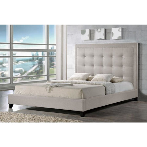 Baxton Studio Hirst Light Beige Platform Bed King Size - Bedroom Furniture