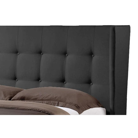 Baxton Studio Favela Black Faux Leather Modern Bed with Upholstered Headboard - Queen Size - Bedroom Furniture