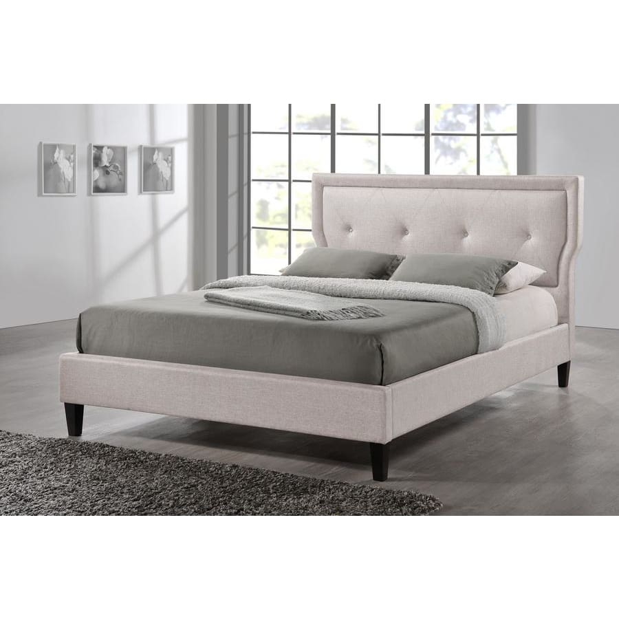 Baxton Studio Marquesa Contemporary Light Beige Fabric Queen Size Bed - Bedroom Furniture