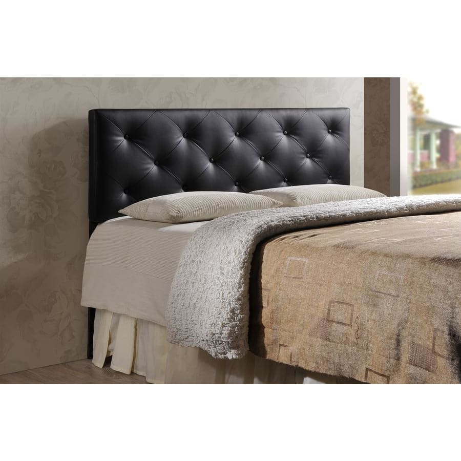 Baxton Studio Baltimore Modern and Contemporary Queen Black Faux Leather Upholstered Headboard - Bedroom Furniture