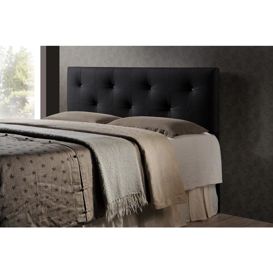 Baxton Studio Dalini Modern and Contemporary Queen Black Faux Leather Headboard with Faux Crystal Buttons - Bedroom Furniture