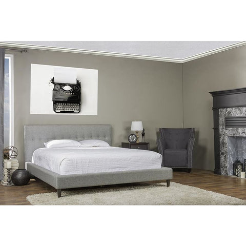 Baxton Studio Callasandra Contemporary Grey Linen King-Size Bed - Bedroom Furniture