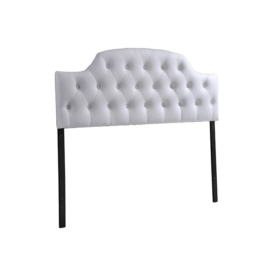 Baxton Studio Morris Modern and Contemporary Queen Size White Faux Leather Upholstered Button-tufted Scalloped Headboard - Bedroom Furniture