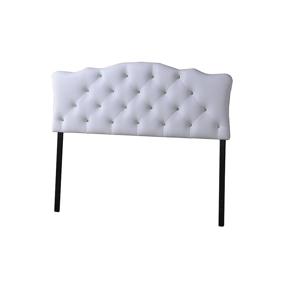 Baxton Studio Rita Modern and Contemporary Full Size White Faux Leather Upholstered Button-tufted Scalloped Headboard - Bedroom Furniture