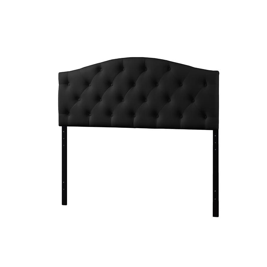Baxton Studio Myra Modern and Contemporary Queen Size Black Faux Leather Upholstered Button-tufted Scalloped Headboard - Bedroom Furniture