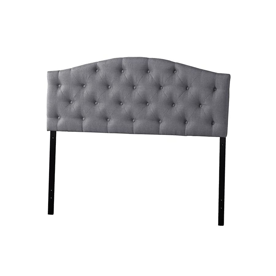 Baxton Studio Myra Modern and Contemporary Queen Size Grey Fabric Upholstered Button-tufted Scalloped Headboard - Bedroom Furniture