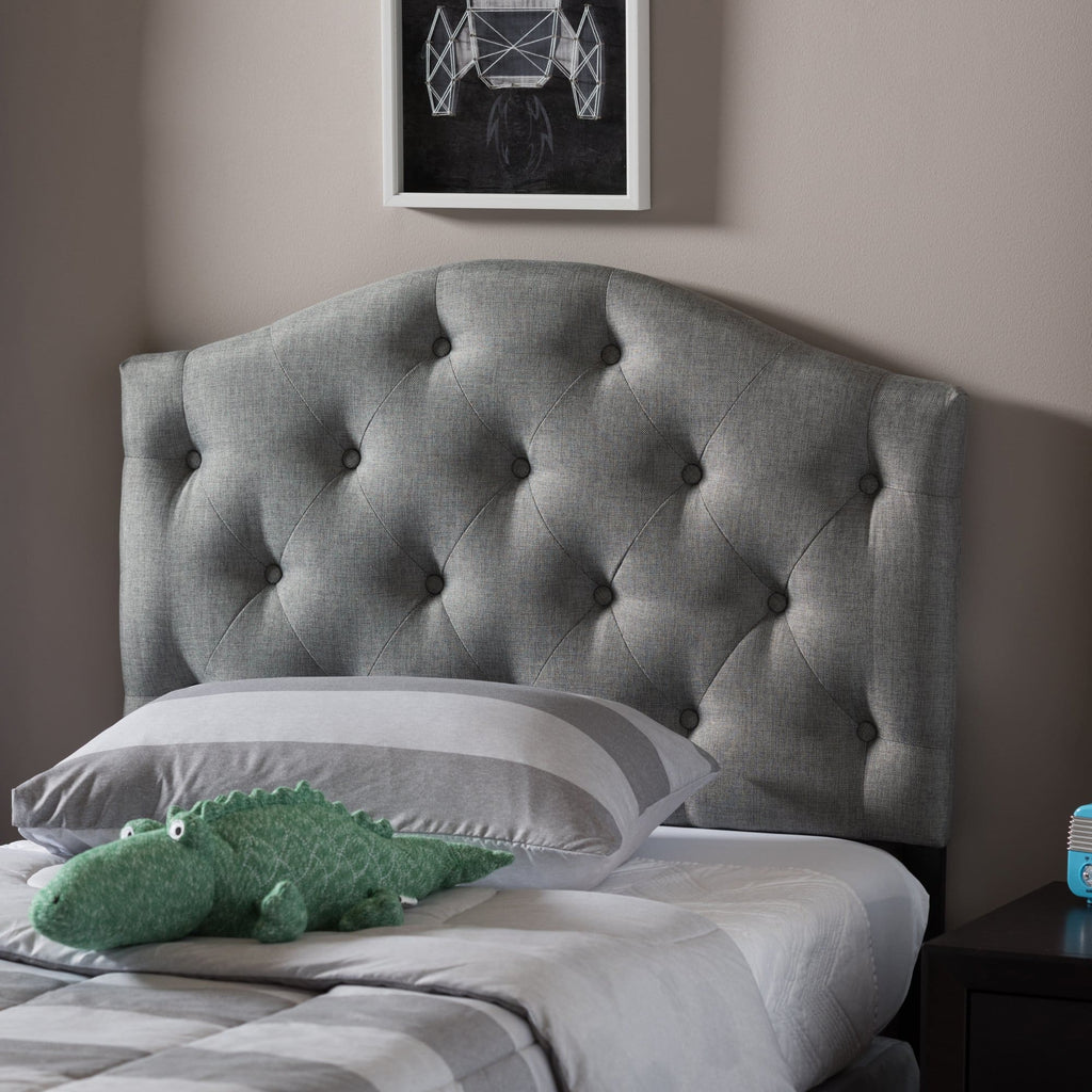 Baxton Studio Myra Modern and Contemporary Grey Fabric Upholstered Button-Tufted Scalloped Twin Size Headboard - Kids Room Furniture