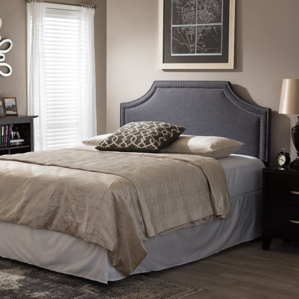 Baxton Studio Avignon Modern and Contemporary Dark Grey Fabric Upholstered Queen Size Headboard - Bedroom Furniture