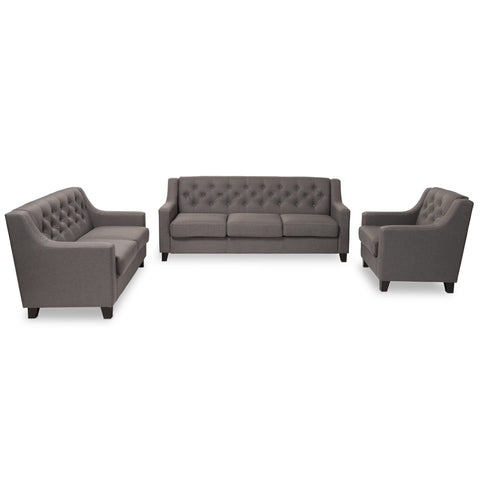 Baxton Studio Arcadia Modern and Contemporary Grey Fabric Upholstered Button-Tufted 3-Piece Living Room Sofa Set - Living Room Furniture