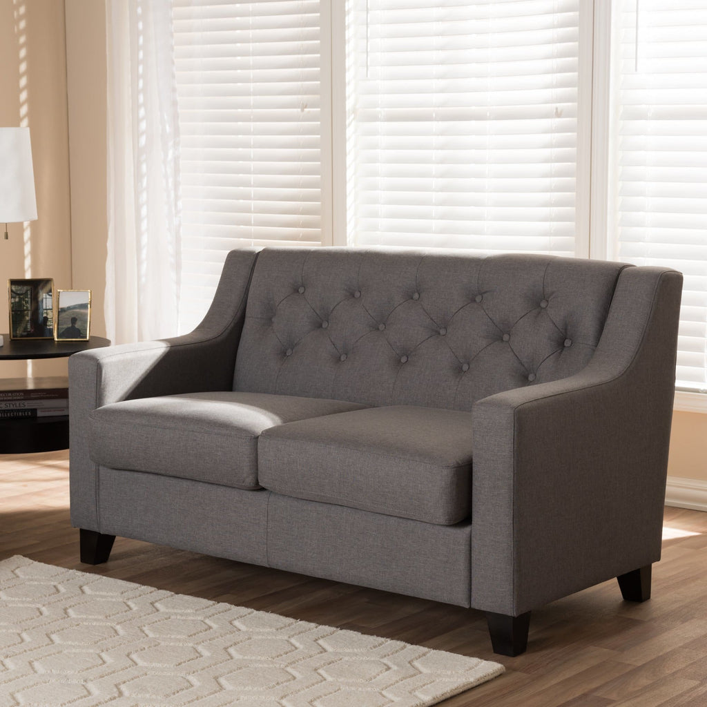 Baxton Studio Arcadia Modern and Contemporary Grey Fabric Upholstered Button-Tufted Living Room 2-Seater Loveseat - Living Room Furniture