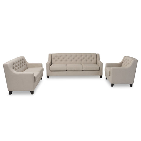 Baxton Studio Arcadia Modern and Contemporary Light Beige Fabric Upholstered Button-Tufted 3-Piece Living Room Sofa Set - Living Room
