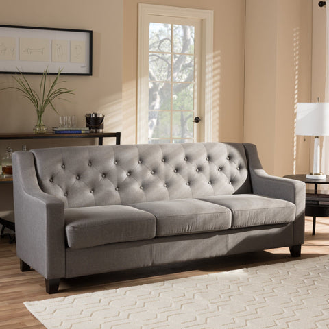 Baxton Studio Arcadia Modern and Contemporary Grey Fabric Upholstered Button-Tufted Living Room 3-Seater Sofa - Living Room Furniture