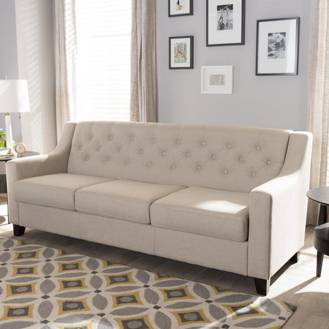 Baxton Studio Arcadia Modern and Contemporary Light Beige Fabric Upholstered Button-Tufted Living Room 3-Seater Sofa - Living Room Furniture