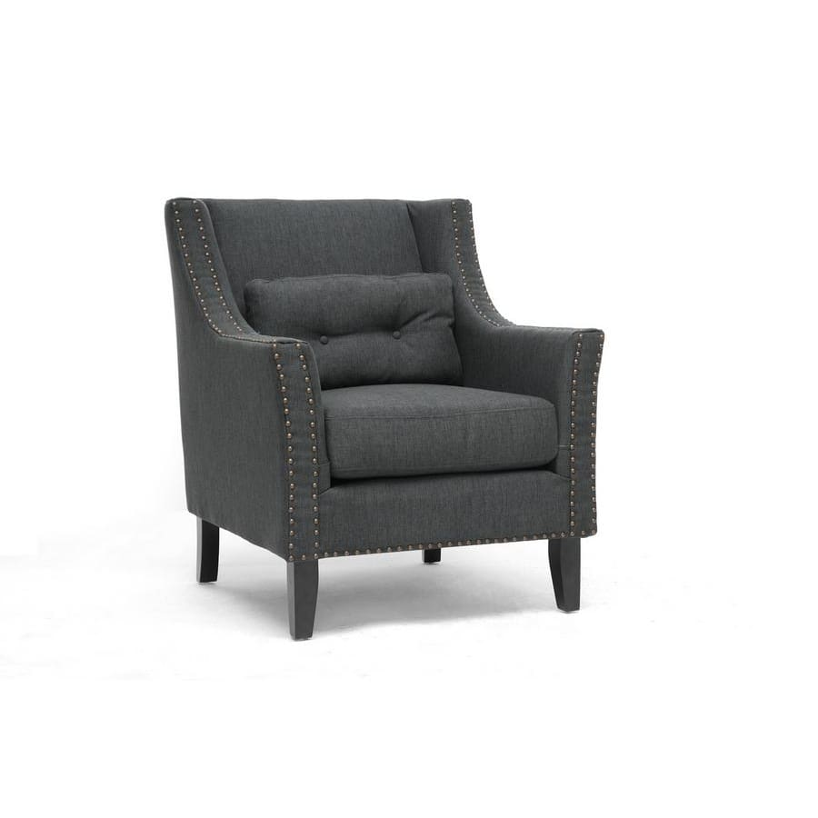 Baxton Studio Albany Dark Gray Linen Modern Lounge Chair - Living Room Furniture