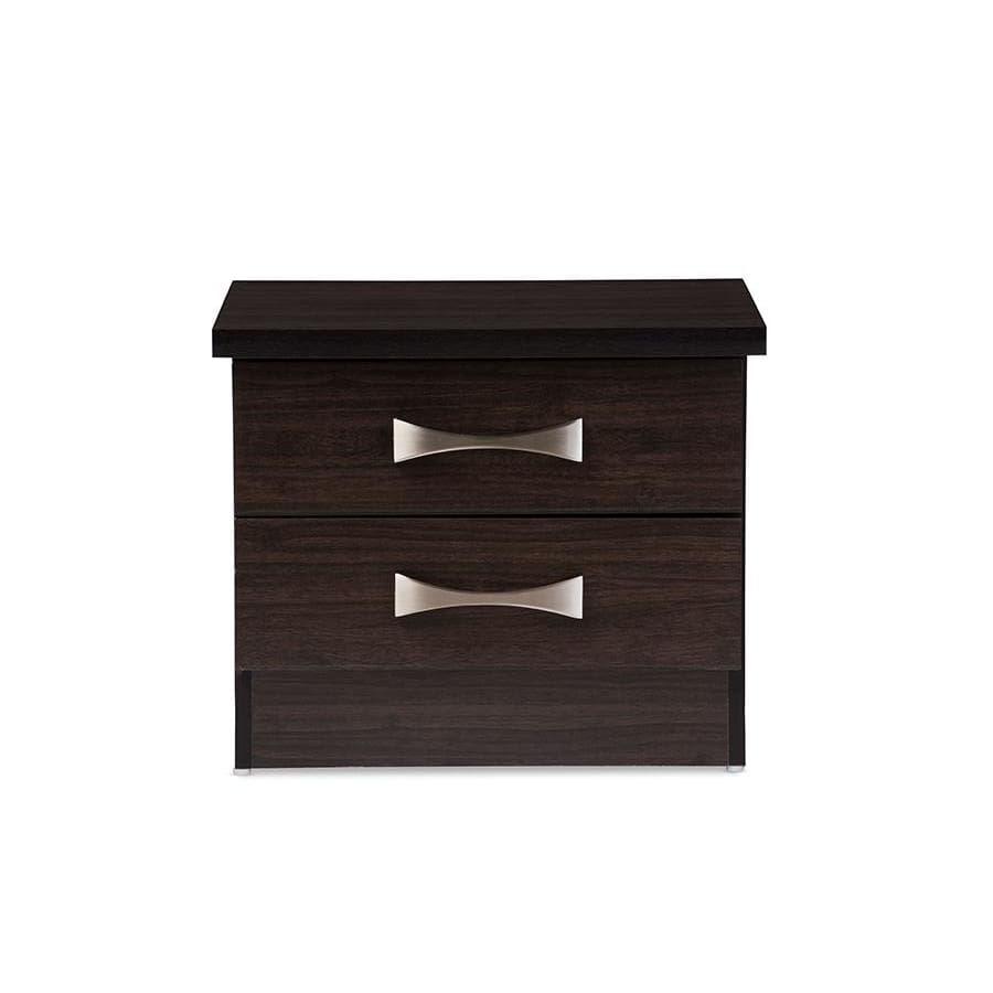 Baxton Studio Colburn Modern and Contemporary 2-Drawer Dark Brown Finish Wood Storage Nightstand Bedside Table - Bedroom Furniture