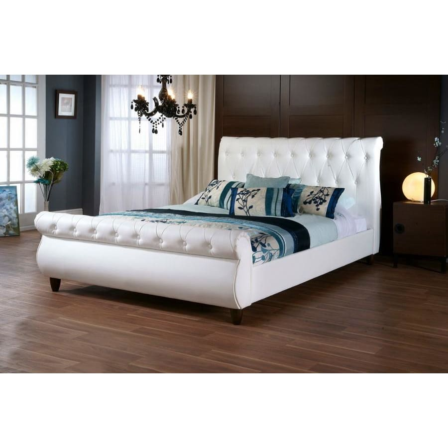 Baxton Studio Ashenhurst White Modern Sleigh Bed with Upholstered Headboard - Queen Size - Bedroom Furniture
