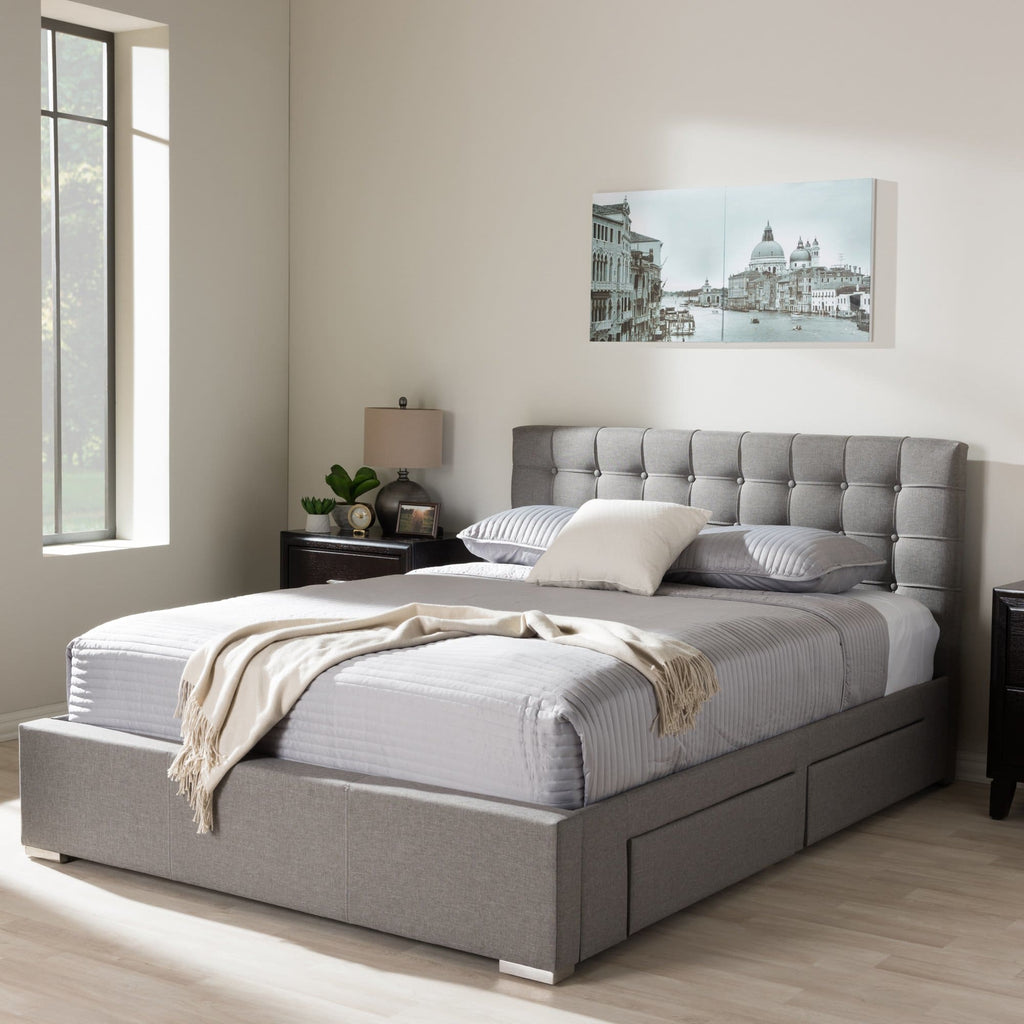 Baxton Studio Rene Modern and Contemporary King Size Grey Fabric 4-drawer Storage Platform Bed - Bedroom Furniture