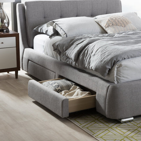 Baxton Studio Camile Modern and Contemporary Grey Fabric Upholstered 4-Drawer Queen Size Storage Platform Bed - Bedroom Furniture