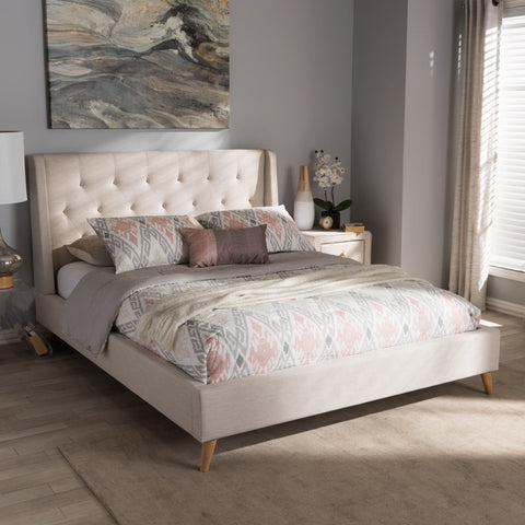 Baxton Studio Adelaide Retro Modern Light Beige Fabric Upholstered King Size Platform Bed - Bedroom Furniture