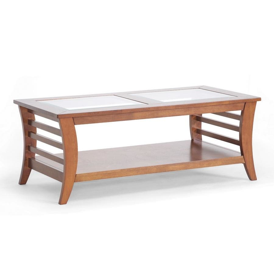Baxton Studio Allison Honey Brown Wood Modern Coffee Table with Glass Inlay - Living Room Furniture