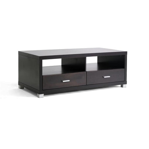 Baxton Studio Derwent Coffee Table with Drawers - Living Room Furniture