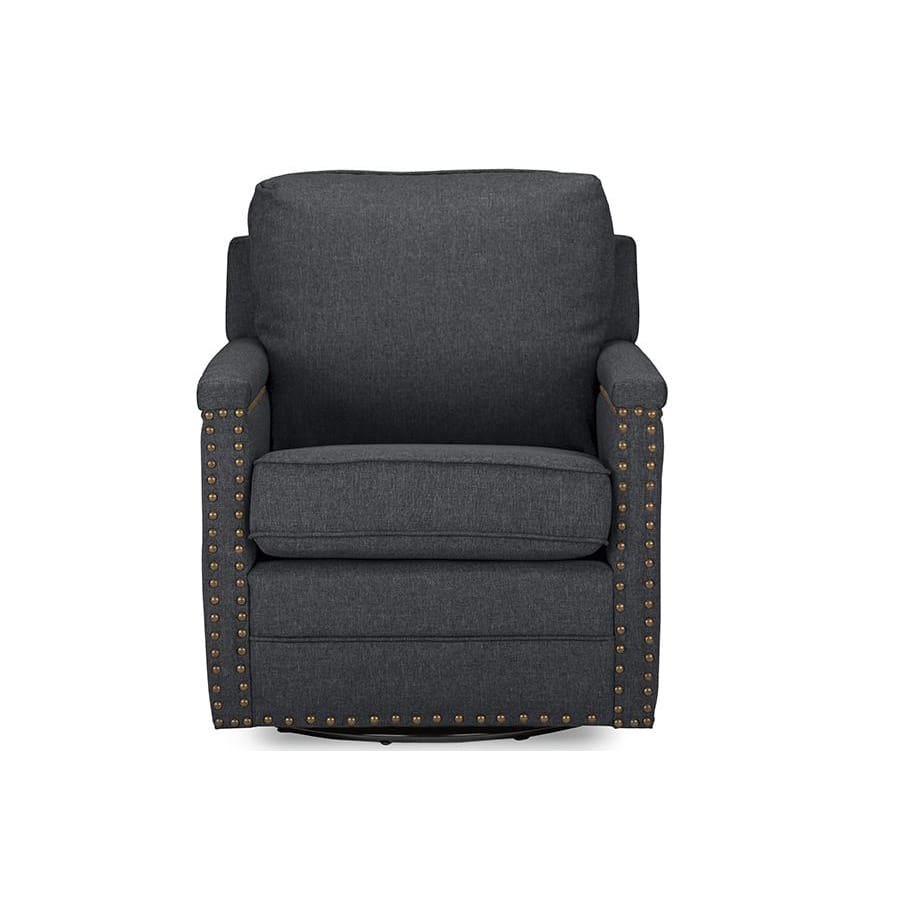 Baxton Studio Ashley Modern and Contemporary Classic Retro Grey Fabric Upholstered Swivel Armchair with Bronze Nail heads Trim - Living Room