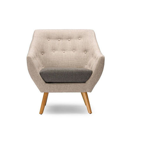 Baxton Studio Astrid Mid-century Beige Fabric Armchair - Living Room Furniture