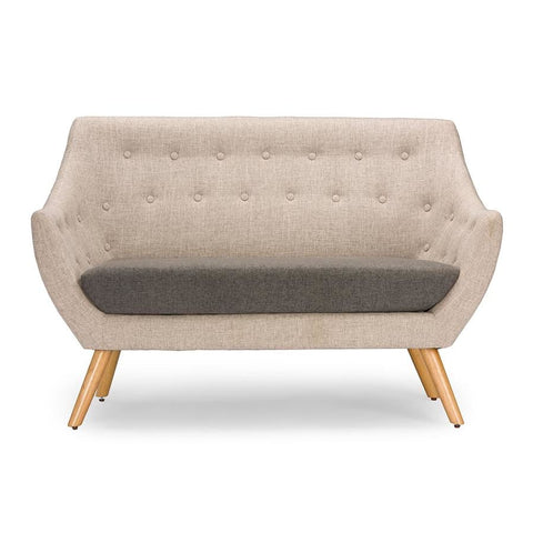 Baxton Studio Astrid Mid-century Beige Fabric Loveseat - Living Room Furniture