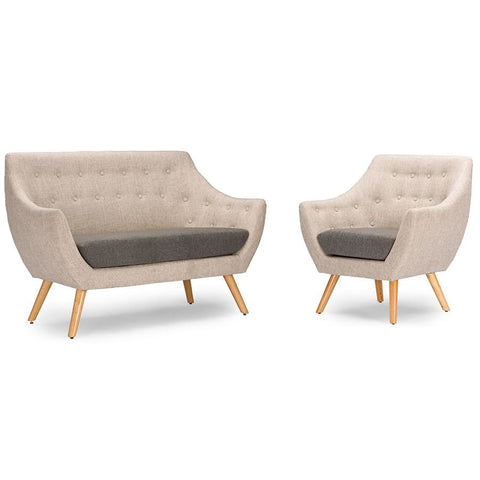 Baxton Studio Astrid Mid-century Beige Fabric Living room Set - Living Room Furniture