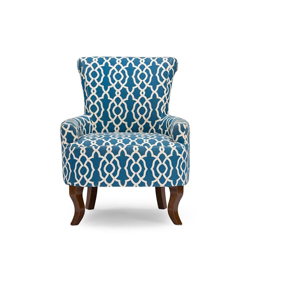 Baxton Studio Dixie Contemporary Fabric Armchair - Navy Blue Patterned Fabric - Living Room Furniture