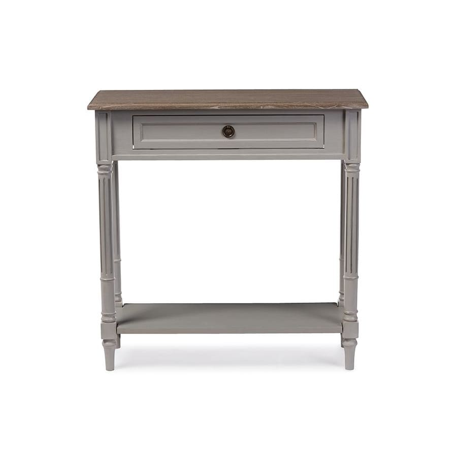 Baxton Studio Edouard French Provincial Style White Wash Distressed Two-tone 1-drawer Console Table - Entryway Furniture