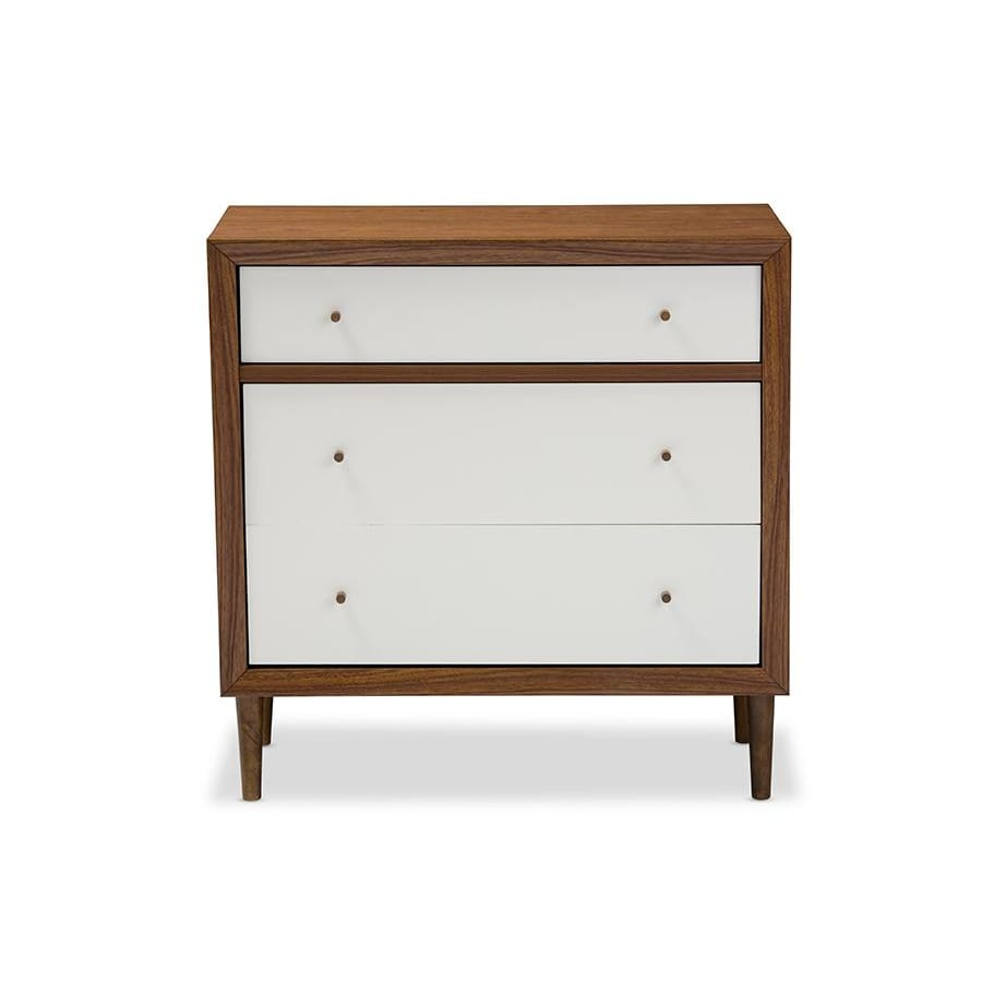 Baxton Studio Harlow Mid-century Modern Scandinavian Style White and Walnut Wood 3-drawer Chest - Bedroom Furniture