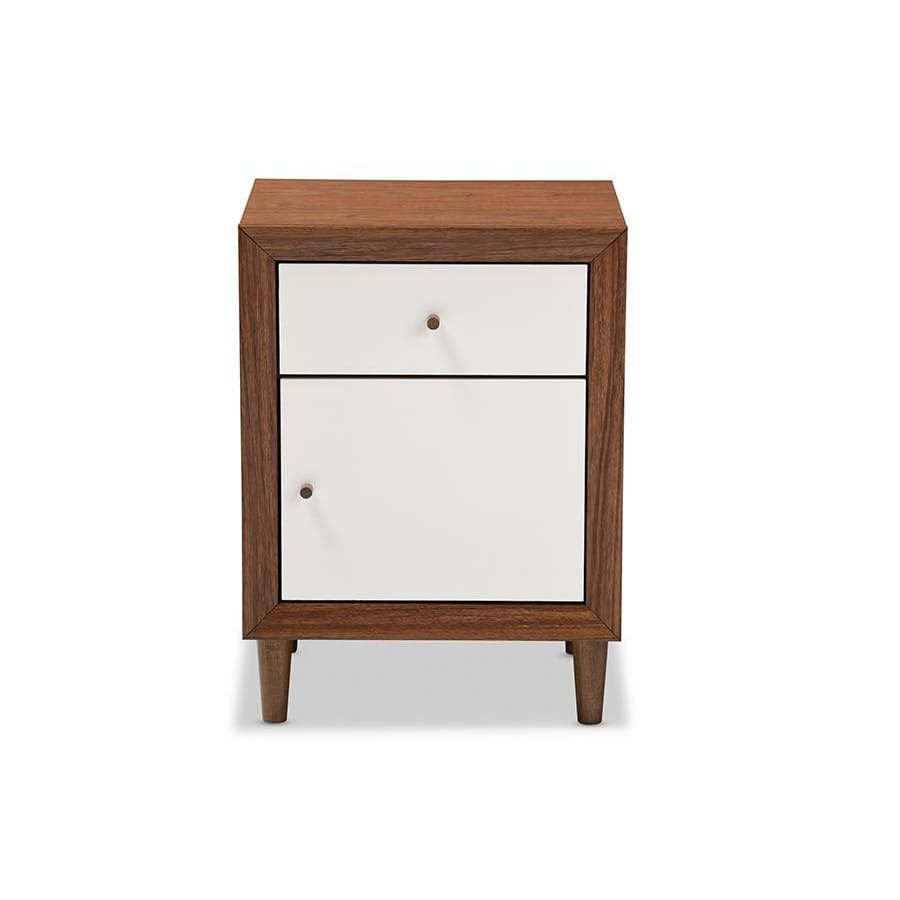 Baxton Studio Harlow Mid-century Modern Scandinavian Style White and Walnut Wood 1-drawer and 1-door Nightstand - Bedroom Furniture