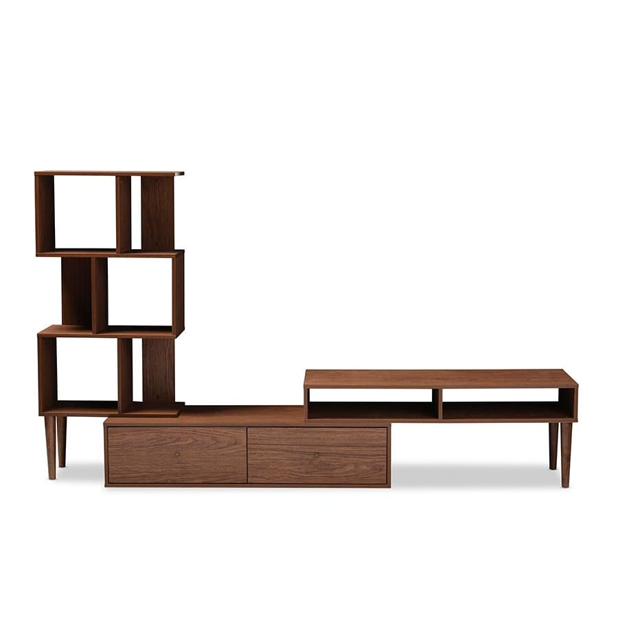 Baxton Studio Haversham Mid-century Retro Modern TV Stand Entertainment Center and Display Unit - Living Room Furniture