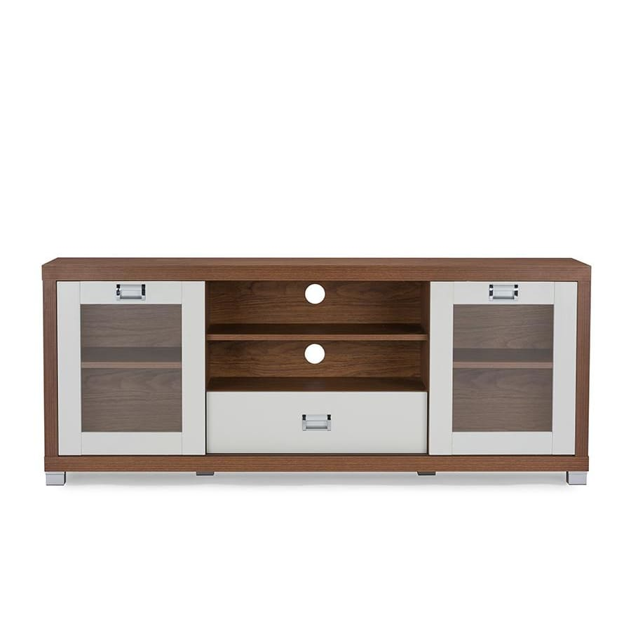 Baxton Studio Matlock Modern Two-tone Walnut and White TV Stand with Glass Doors - Living Room Furniture