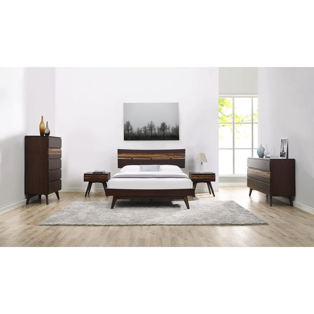 Greenington AZARA Bamboo Queen Platform Bed - Sable with Exotic Tiger