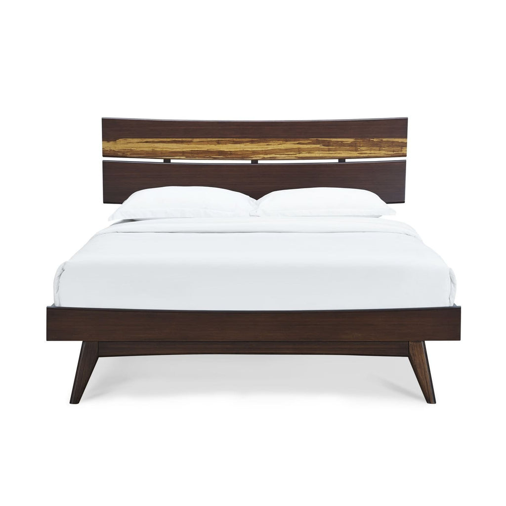 Greenington AZARA Bamboo Queen Platform Bed - Sable with Exotic Tiger - Bedroom Beds