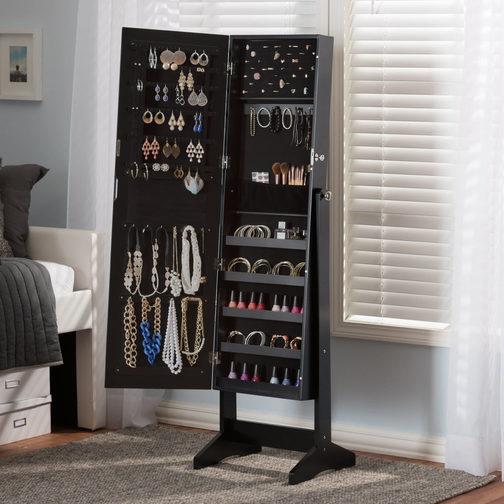 Baxton Studio Alena Black Finishing Wood Free Standing Cheval Mirror Jewelry Armoire - Accessories