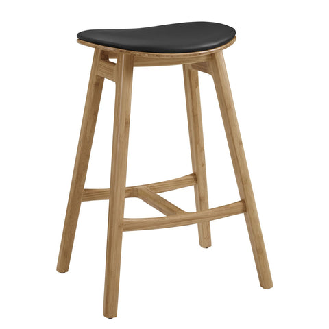 Greenington SKOL Bamboo 26 Counter Height Stool with Leather Seat - Caramelized (Set of 2) - Stools