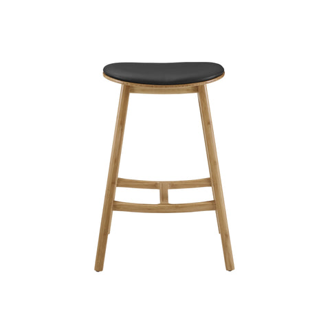 Greenington SKOL Bamboo 30 Bar Height Stool with Leather Seat - Caramelized (Set of 2) - Stools