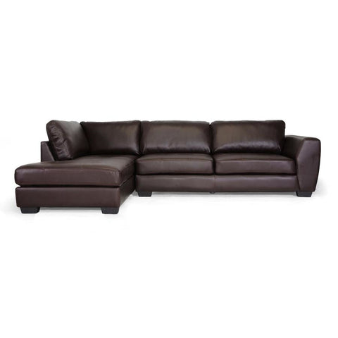 Baxton Studio Orland Brown Leather Modern Sectional Sofa Set with Left Facing Chaise - Living Room Furniture