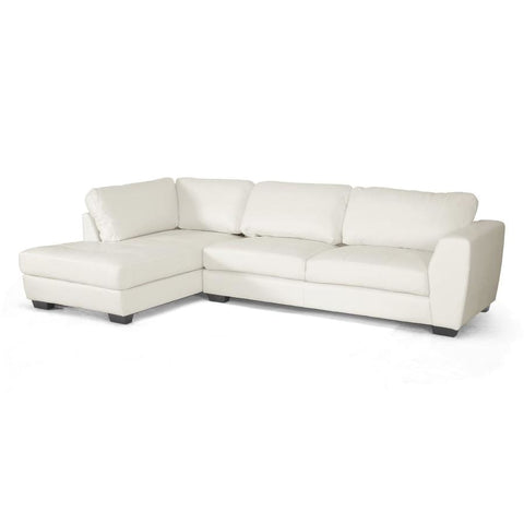 Baxton Studio Orland White Leather Modern Sectional Sofa Set with Left Facing Chaise - Living Room Furniture